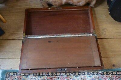 Vintage wooden writing slope brass inlayed working lock key 4
