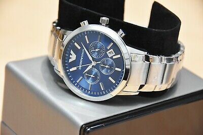 New Genuine Emporio Armani Mens Ar2448 Watch Blue Dial Stainless Steel £319 Rrp 4