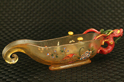 Chinese rare old coloured glaze hand painting dragon statue glass wine cup 6