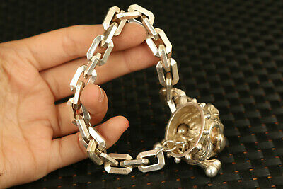 chinese big old miao silver hand carved dog head statue bracelet decorate 7