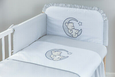 Babybett mit 10-tlg Komplett-Set Bettwäsche Matratze Nestchen Rosa Grau Neu