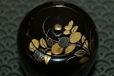 VTG Japanese wooden lacquer Gold makie Natsume tea caddy w/box from Japan b098 8