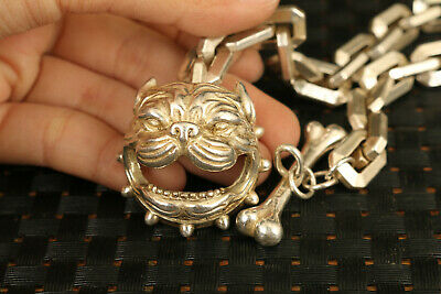 chinese big old miao silver hand carved dog head statue bracelet decorate 3