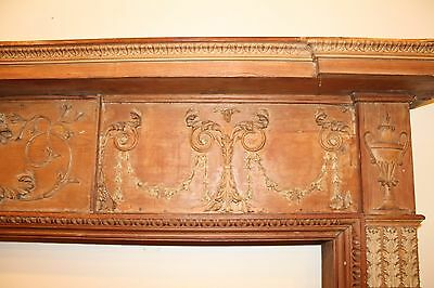 18th Century Adams Fireplace Mantel Carved Wood Basket, Urns, Floral Swags Etc. 4