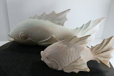 Carved (1) Large and (1) Small Wooden Japanese White Koi Fish Carving NICE! 7