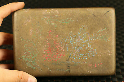 Chinese bronze hand carved  figure statue inkpad seal box decorate gift 2