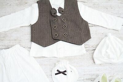 Babyanzug 6-tlg Taufanzug Jungen Weste Fliege Taufschuhe Mevlütlük Weiß 62 68