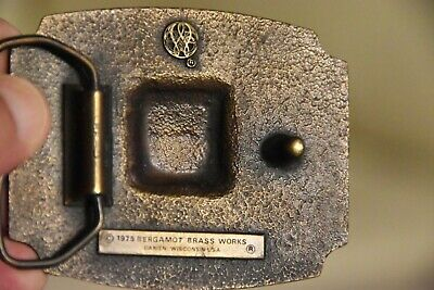 Vintage 1975 KEEP ON TRUCKING Belt Buckle Bergamot Brass Works Americas Needs 3