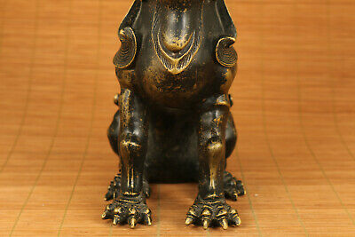 Big Antique bronze hand carved unicorn statue collectable home decoration 11