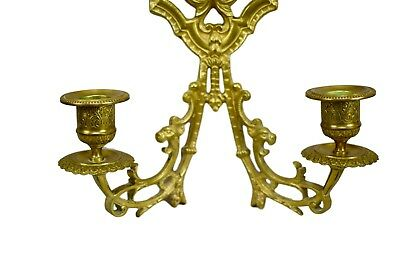 French Antique Pair of Ormolu Bronze Wall Sconce with Bacchus Head 19th 2
