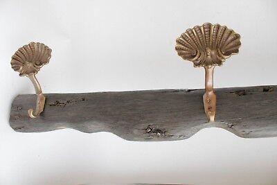antique maritime bog oak wooden sail rack with brass shell hooks 3