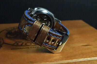 Correa Reloj Genuino Cuero Vintage Apta Panerai Etc Ma Strap Colorum Marron Azul 6