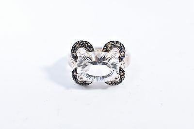Vintage Genuine Clear Quartz Smoky Topaz 925 Sterling Silver Size 8 Ring 11