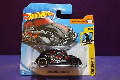 """Hot Wheels 2018 #262//365 VW BEETLE black red /""""PAWN/""""  Checkmate Chess Long Card"""