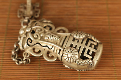 Nice tibet silver hand carved flower shou netsuke not snuff box Netsuke 4