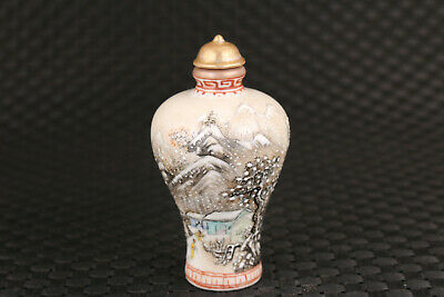 Chinese old porcelain Handpainted snow-covered landsca snuff bottle collectible 4