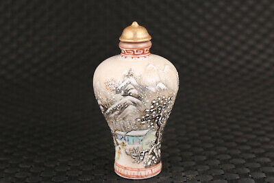 Chinese porcelain Handpainted snow-covered landsca snuff bottle collectible 4