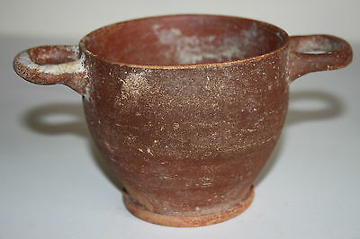 ANCIENT GREEK POTTERY HELLENISTIC SKYPHOS CUP 3rd  CENTURY BC DRINKING CUP 3