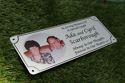 remembrance bench plaque photo memorial, 200mm x 75mm, metal, aluminium 11