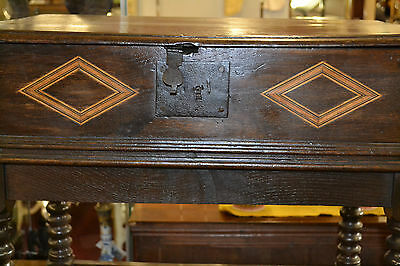 Fine quality antique 18th century Oak bible box with inlay on later stand, c1760 3