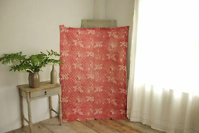 Antique French toile de Normandy c 1820 red quilted textile linen backed 4
