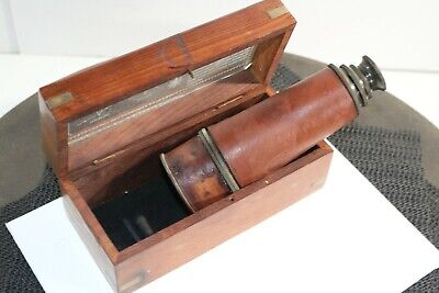 Antique Solid Brass Nautical Dollond London Telescope w Handmade Wooden Box Gift