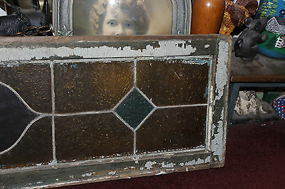 Antique Stained Glass Window-751 Street Number-Wood Frame-Large Size Window-LQQK