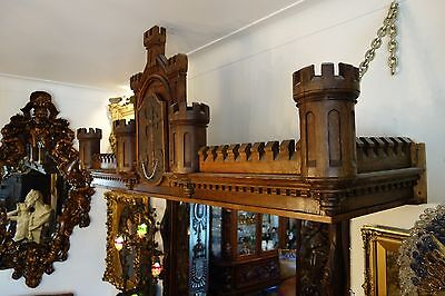 19C English Gothic Carved Oak Castle/Battlement Architectural Fantasy Pediment 10