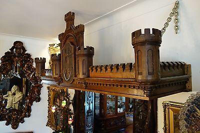 19C English Gothic Carved Oak Castle/Battlement Architectural Fantasy Pediment 10