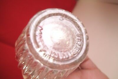 Vintage Made in Austria Ridged Clear Glass Pair of Salt & Pepper Shakers