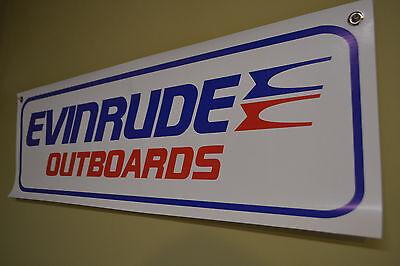 Evinrude Outboard BANNER Mechanic Sign Boat Shop Motor Johnson Parts