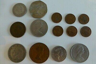 British Coinage Collectables Half Penny, Shillings, Old 50P 10P 5P - 14 Coins 2