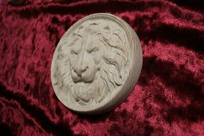"Decorative lion head, wooden Carved lion rosette. Oak wooden element. 10"" 10"