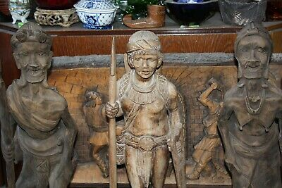 "Female XXL 24"" Antique Philippine Igorot Tribe Wood Carved Warrior Head Hunter 12"