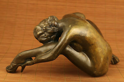 "9"" Antiques big copper hand carved statue collectable woman Statue 5"