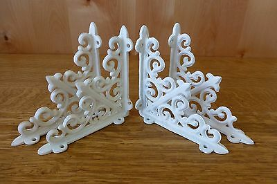 "4 WHITE ANTIQUE-STYLE 5.5"" SHELF BRACKETS CAST IRON garden rustic fleur ARROW 2"