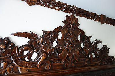 19C Venetian Gothic Fantasy Carved Oak Winged Dragon/Griffin/Gargoyle Pediment 7
