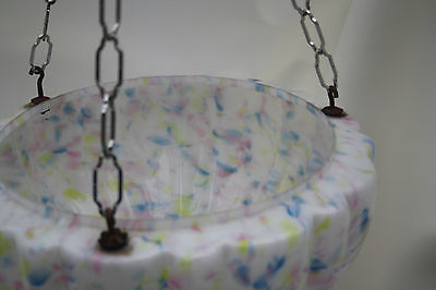 chandelier  LARGE DELICATE PASTEL GLASS BOWL   ex country house loft 1930S 6