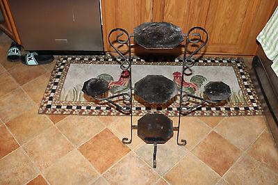 Vintage Wrought Iron Garden Plant Stand-Black-Holds 5 Plants-Architectural-LQQK 10