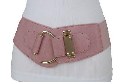 Cintura Donna Fibbia Buckle Big Marrone Crema da donna stretch BORCHIE Wide Similpelle