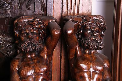 19C Italian Carved Walnut Classic Caryatid Wall Pilasters Architectural Element 12