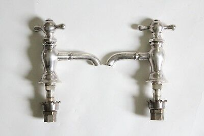 antique faucet bathroom sink | vtg bath victorian plumbing silver plated deco 2