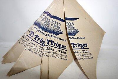 Kolonialwaren EDUARD TRÖGER WEIDA THÜRINGEN 50 x Einkaufstüte Papier Reklame