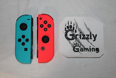 NEW Nintendo Switch Red/Blue Joycons w Straps & Joy-con Grip Controller L R
