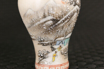 Chinese old porcelain Handpainted snow-covered landsca snuff bottle collectible 3
