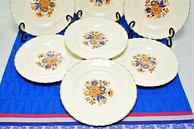"7 J&G Meakin SOL Luncheon Plates Orange flower blue leaves scalloped gold 8"" VGC 3"