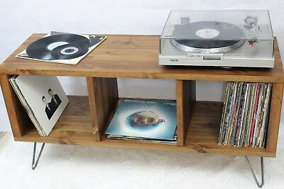 Retro Industrial Wooden Vinyl Record Player Cabinet Stand Tv Unit Coffee Table Home Garden Nautical Coffee Tables