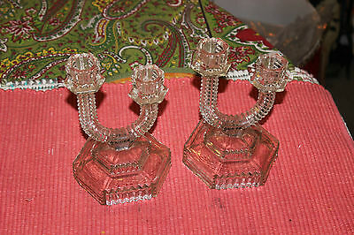 Antique Art Deco Glass Candlestick Holders-Pair-Ribbed Glass W/Curved Top Glass