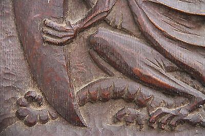 19C English Carved Oak Welsh Winged Dragon Griffin/Gargoyle/Shield 8