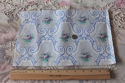 Fabric Exquisite Tiny Doll Scale Rose Antique French Chintz Sample Fabric C1864 Cotton